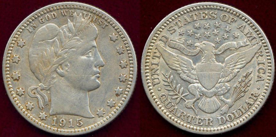 US Coins - 1915 BARBER 25c VF