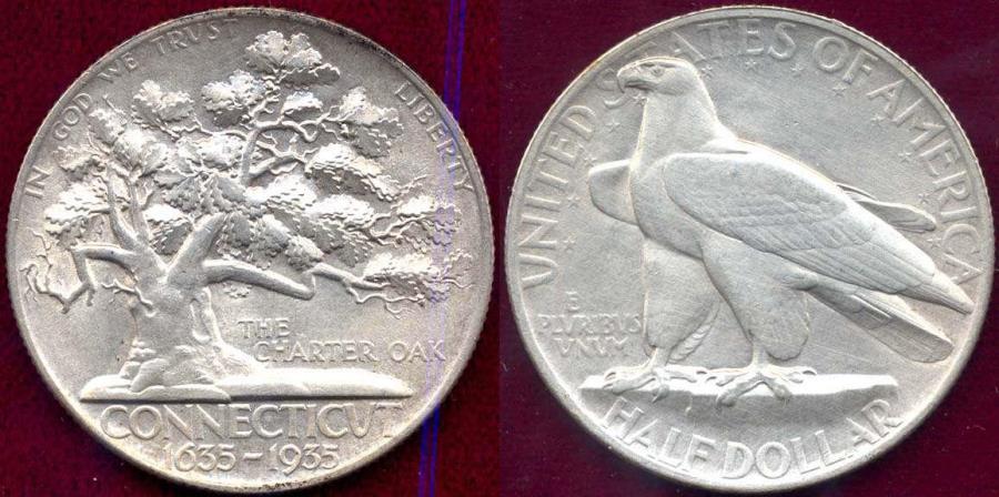 US Coins - CONNECTICUT 1935 50c Commemorative 50c   MS60