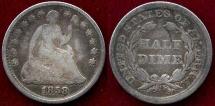 Us Coins - 1858  HALF DIME   FINE