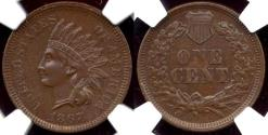 Us Coins - 1867 INDIAN CENT... NGC  MS60BN