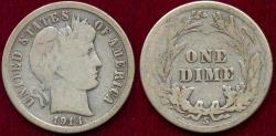 Us Coins - 1914-S BARBER DIME VG ... 4 Letters show