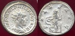 Ancient Coins - PHILIP I 244-249 AD Antoninianus  SALUS with snake