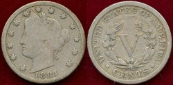 Us Coins - 1884 LIBERTY 5c ....  VERY GOOD