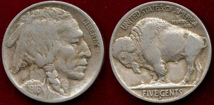 US Coins - 1916-D BUFFALO 5c  VF