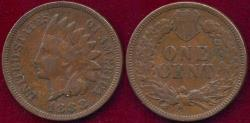 Us Coins - 1888 INDIAN 1c VF
