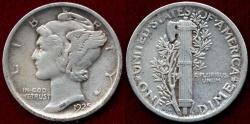 Us Coins - 1925-D MERCURY 10c  XF