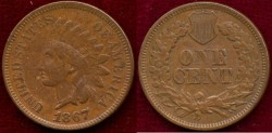 Us Coins - 1867   INDIAN  1c  ....   EXTRA FINE