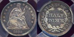 Us Coins - 1859 SEATED HALF DIME  PCGS PR64