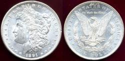Us Coins - 1891-CC MORGAN $1  MS62 WHITE