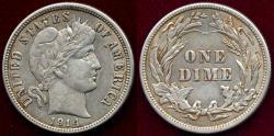 Us Coins - 1914 BARBER 10c AU50