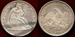 Us Coins - 1858-O  50c   Choice About UNCIRCULATED