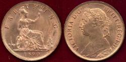 World Coins - GREAT BRITAIN 1890 FARTHING... GEM  UNCIRCULATED
