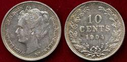World Coins - NETHERLANDS 1904 ....  10 CENTS