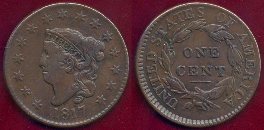 US Coins - 1817 15 STARS  Large CENT  VF35