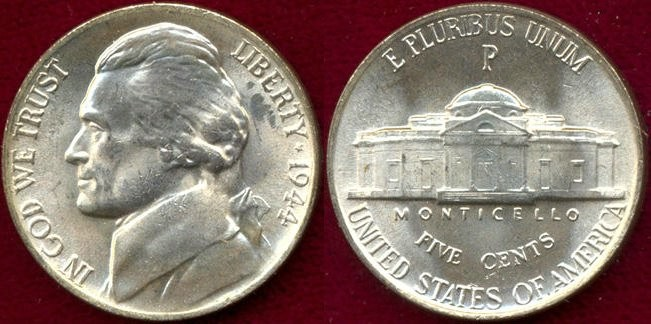 US Coins - 1944-P   Silver   5c  ..... CHOICE  UNCIRCULATED... STEPS