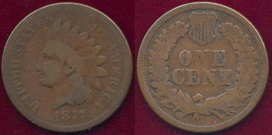 US Coins - 1877 INDIAN CENT   GOOD ... very good eye appeal