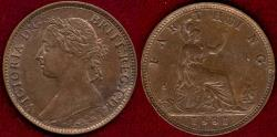 World Coins - GREAT BRITAIN 1881 FARTHING  UNCIRCULATED