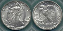 Us Coins - 1941 WALKING LIBERTY 50c  PCGS MS65  .. old green holder
