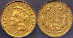 Us Coins - 1859 $3 GOLD INDIAN PRINCESS .....  XF40