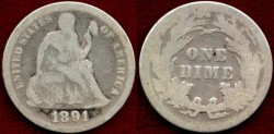 Us Coins - 1891  Seated  10c..... VERY GOOD