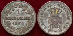 World Coins - BAVARIA 1871...... 1 KREUTZER