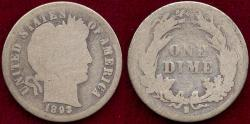 Us Coins - 1893-S  BARBER 10c  GOOD