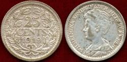 World Coins - NETHERLANDS 1919 25 CENT