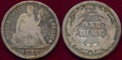 Us Coins - 1891 SEATED DIME  VG