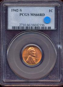 US Coins - 1942-S LINCOLN CENT MS66RD PCGS