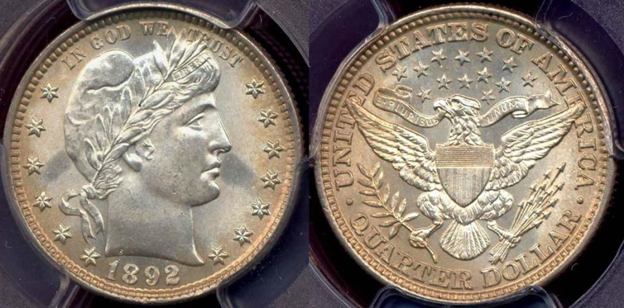 US Coins - 1892 BARBER 25c  PCGS MS64  GREAT EYE APPEAL!