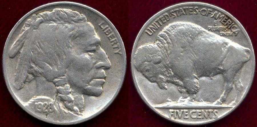 US Coins - 1928 BUFFALO 5c  XF45