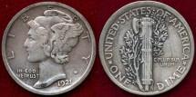 Us Coins - 1921  MERCURY 10c   XF