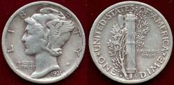 Us Coins - 1931-D MERCURY 10c  XF40