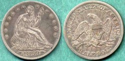 Us Coins - 1853  Seated 50c .....  About UNCIRCULATED
