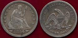Us Coins - 1854 SEATED LIBERTY 25c  XF