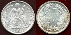 Us Coins - 1887  10c ...... GEM UNCIRCULATED
