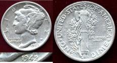 Us Coins - 1942/1  MERCURY 10c   XF Details