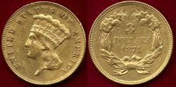 Us Coins - 1874 $3 GOLD PRINCESS  AU55