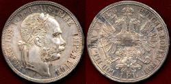 World Coins - AUSTRIA 1876A  1 FLORIN ...  CHOICE BU ... GREAT TONING!