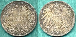 World Coins - GERMANY 1909-A........ 1 MARK NGC MS63