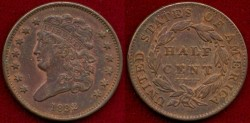 Us Coins - 1832 1/2c ..... STRONG About UNCIRCULATED