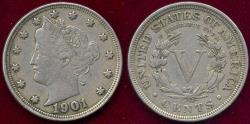 Us Coins - 1901 LIBERTY 5c XF