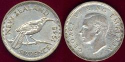 World Coins - NEW ZEALAND 1945 6 Pence  AU  KIWI