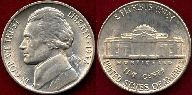 US Coins - 1938 Jefferson 5c ...... GEM  BU MS65