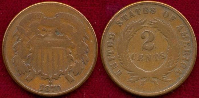 US Coins - 1870  2c ....  GOOD