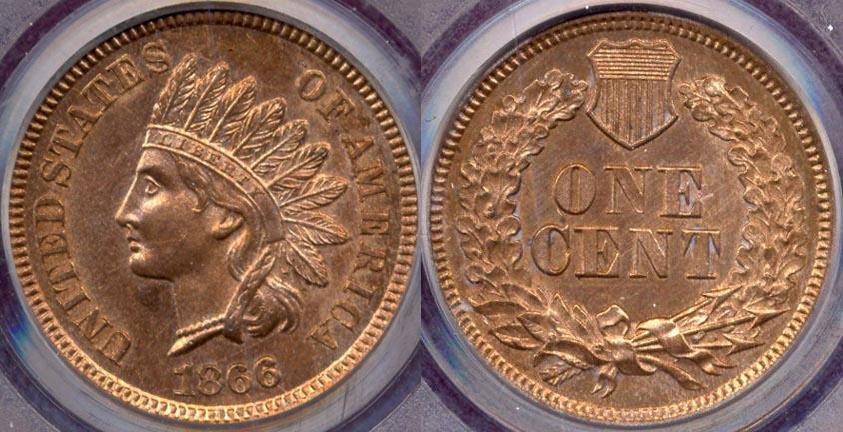 US Coins - 1866 INDIAN CENT  MS64... UNLISTED VARIETY... RARE!