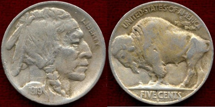 US Coins - 1919-S  Buffalo 5c .....  EXTRA FINE