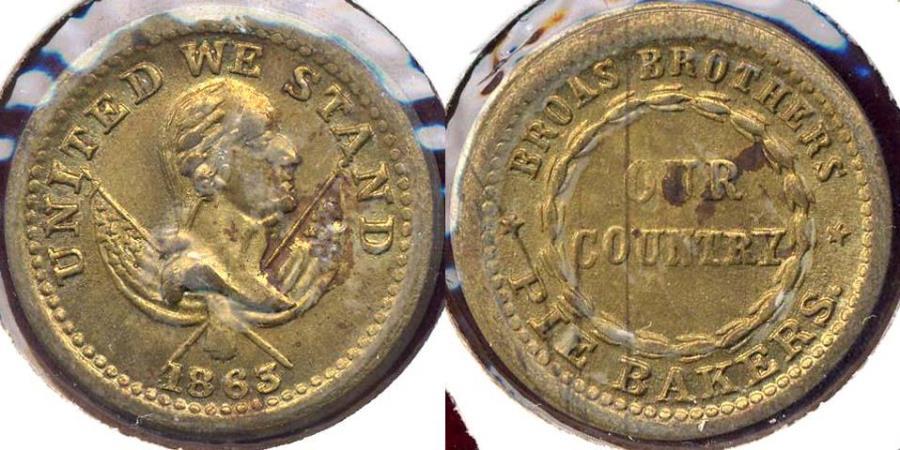US Coins - 1863 CIVIL WAR TOKEN in BRASS .... BROAS Pie Baker NY