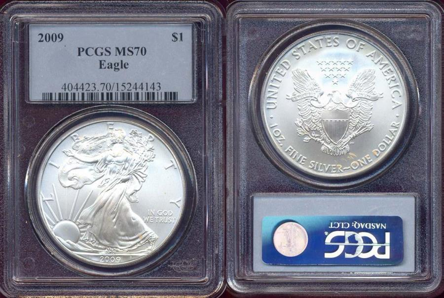 US Coins - 2009 SILVER EAGLE $1  PCGS MS70