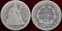 1850 SEATED 10c  AG+